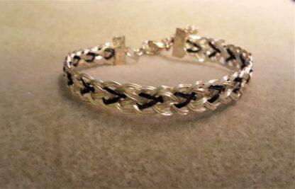 Silver & Black Braided Bracelet